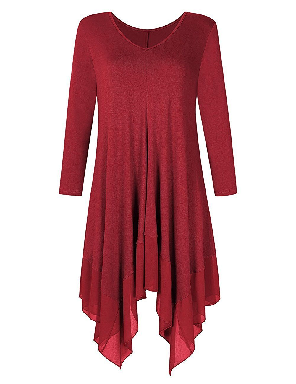 Kinikiss women irregular hem long sleeve loose shirt dress top plus