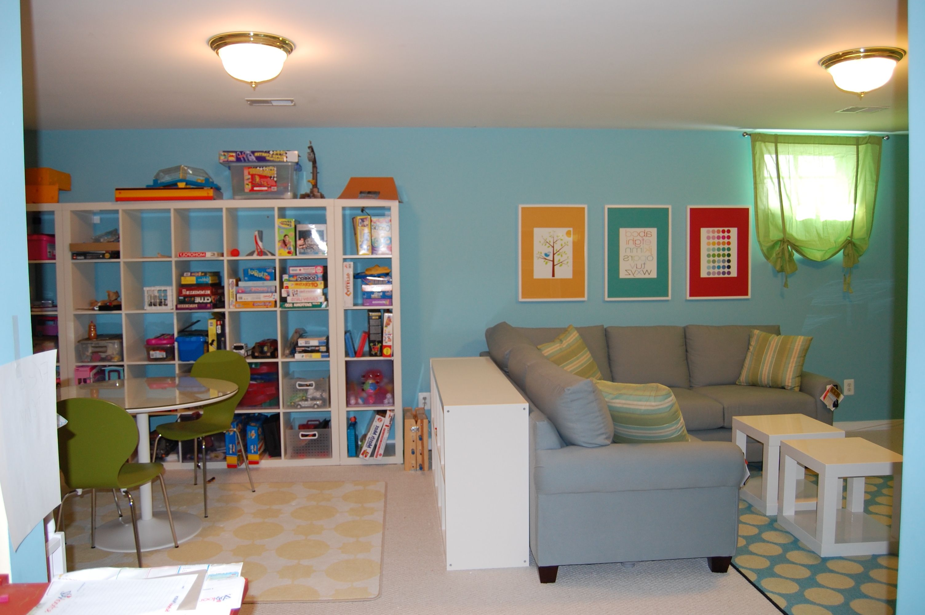 small play area in living room gray alphabet playroom rug