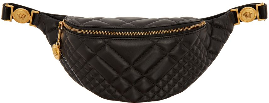 c0c16037efe1 Versace - Black Quilted Medusa Belt Bag