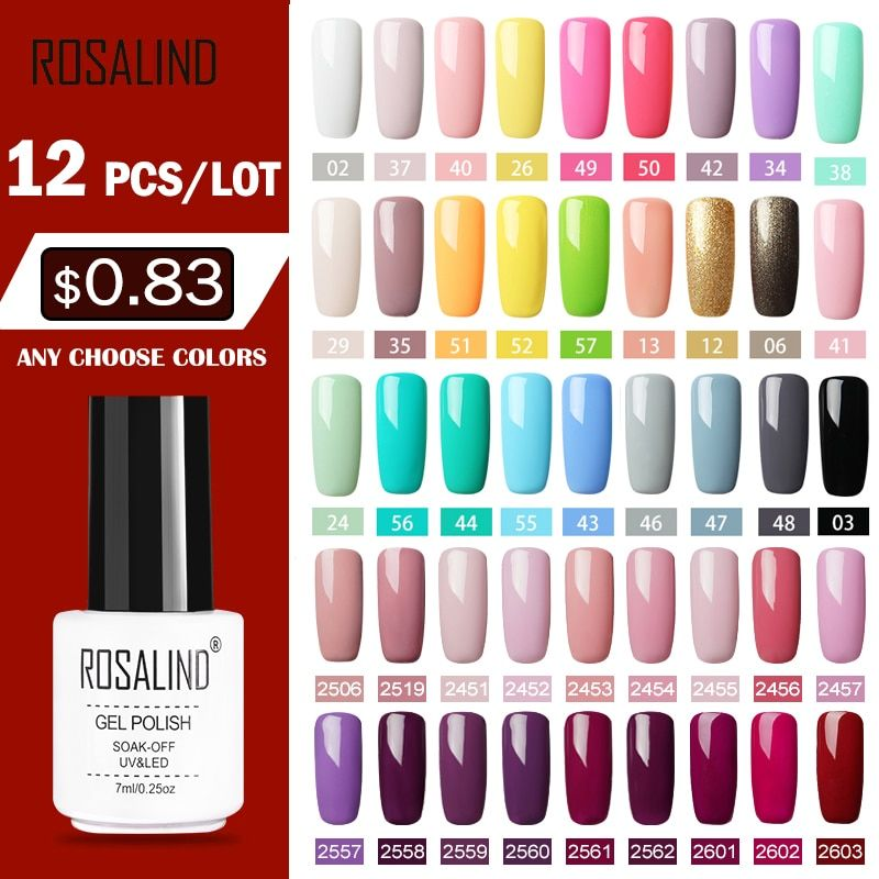12pcs Set Rosalind Gel Nail Polish Set For Nail Extension Kit Nail Art Gel Lacquer Uv Led Lamp Design Acrylic Acrylic Nail Kit Gel Nail Polish Set Gel Lacquer
