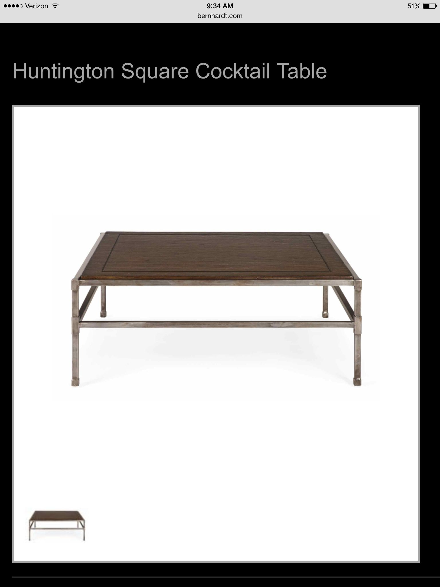 Bernhardt 48 sq table square cocktail table square tables