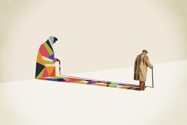 Bright Blocks of Color Form Abstract Shadows - Walking Shadow, designer and illustrator Jason Ratliff