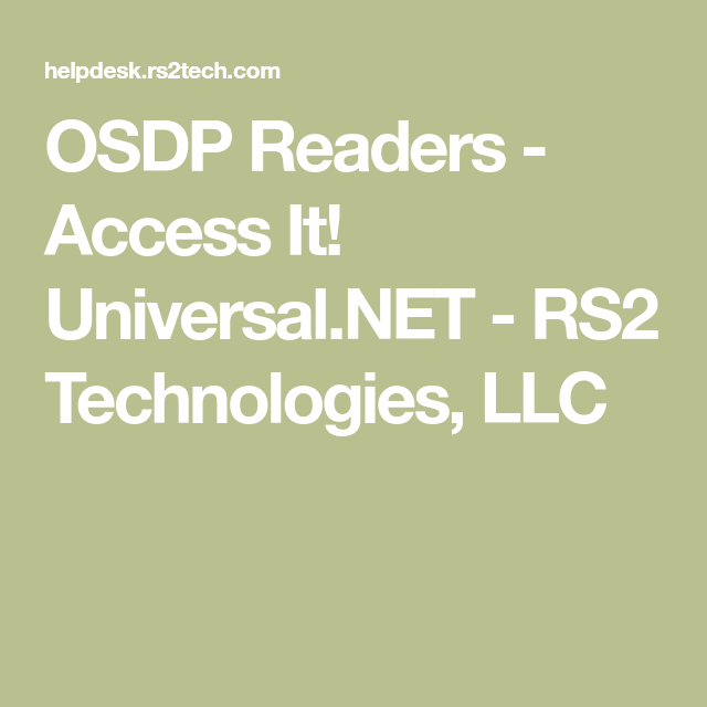 Osdp Readers Access It Universal Net Rs2 Technologies Llc Readers Technology Earthing Grounding