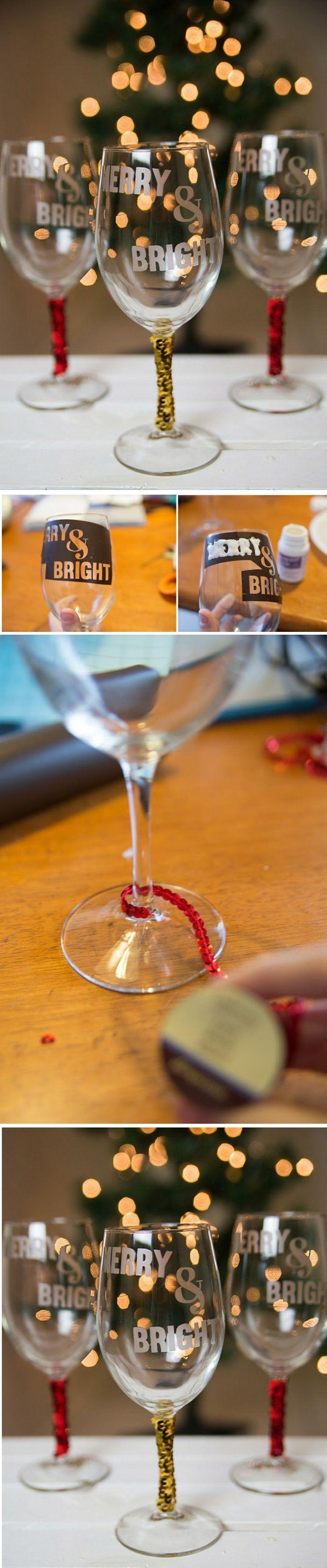 Weingläser Dekorieren weingläser weihnachtlich dekorieren sticker glas pailletten