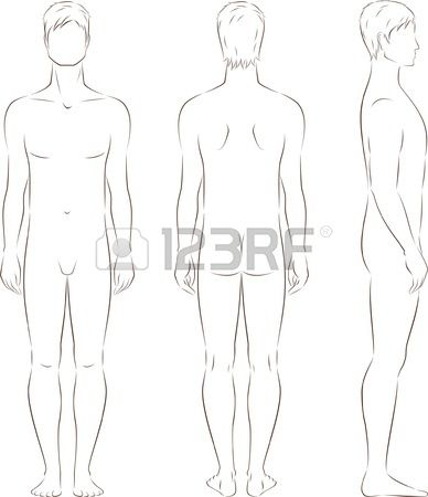 Illustration Of Men S Figure Front Back Side Views Silhouettes Stock Vector Fashion Illustration Fashion Sketches Body Template