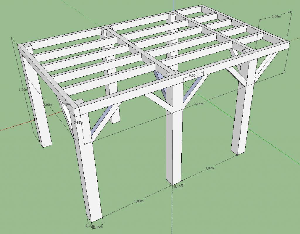 Plan ossature plateforme sur pilotis, abri de jardin (avec images)   Plan pergola bois, Terrasse ...