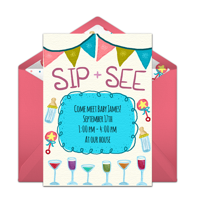 Hand Drawn Free Sip See Invitation With A Whimsical Design Love This For Hosting Where Friends And Family Meet The New Baby