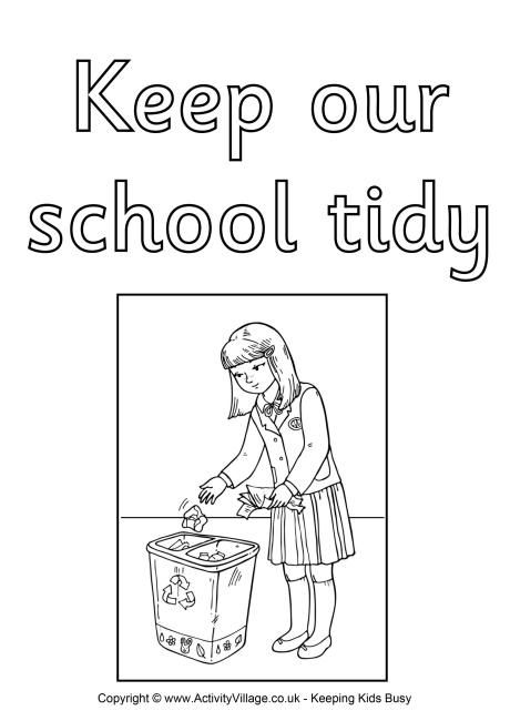 Keep Our School Tidy Colouring Poster Pdf Link