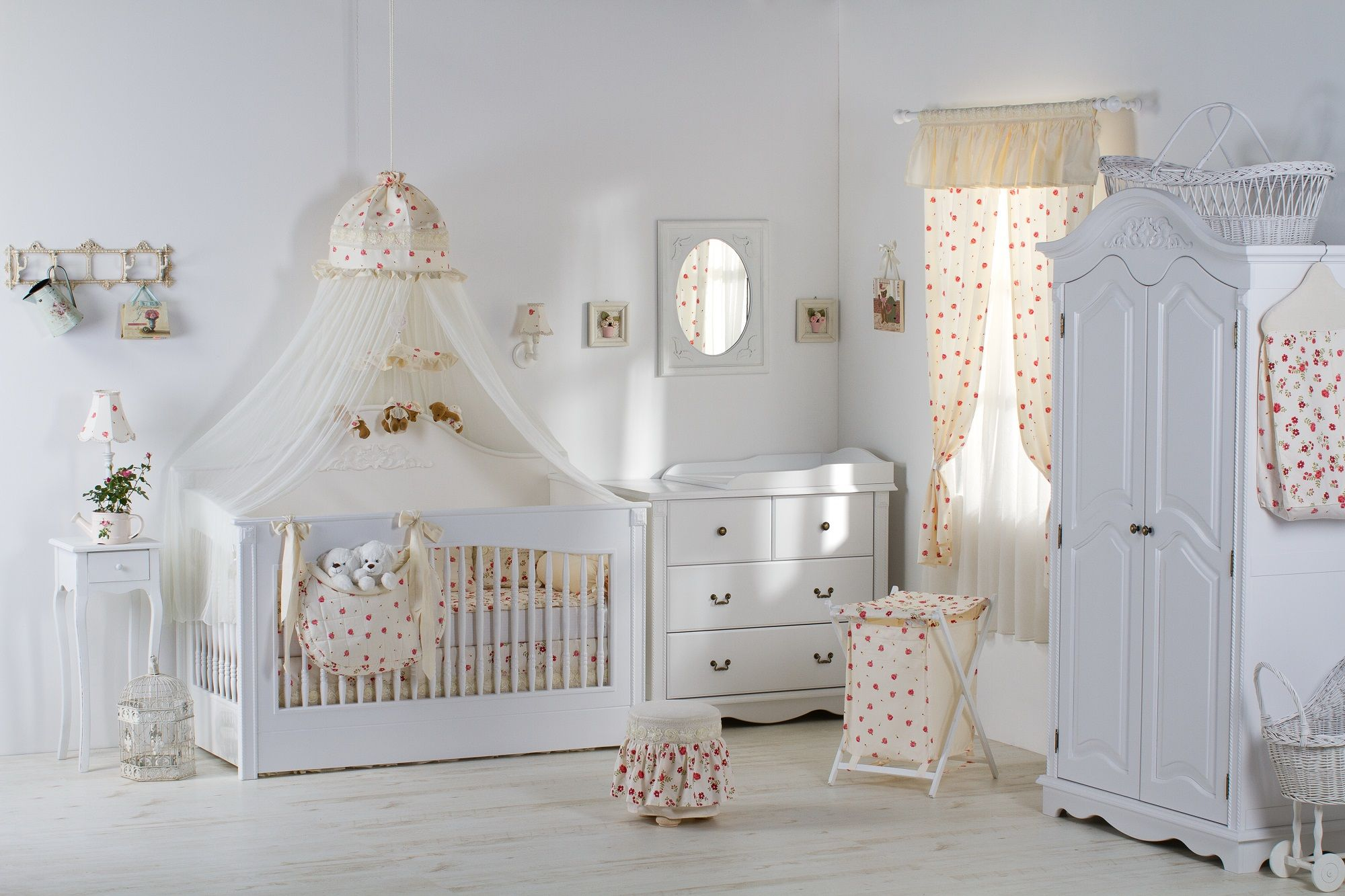 Beauty And Safe Baby Room Decoration With Hanging Curtain Spinning Toy Above The Crib Also