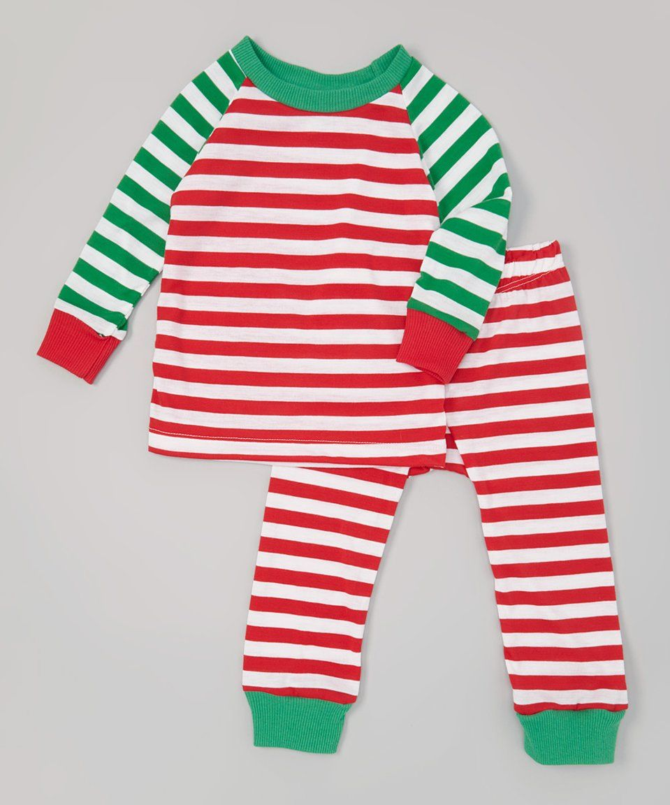 c46788f25b Take a look at this Red   Green Stripe Mix-Up Pajamas - Kids today ...