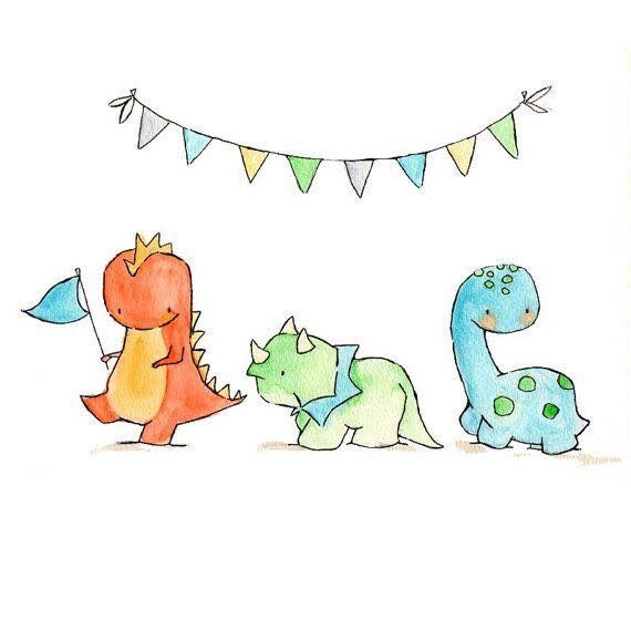 Dinosaurs Drawing Nursery Art Baby Art Kindergarten Art