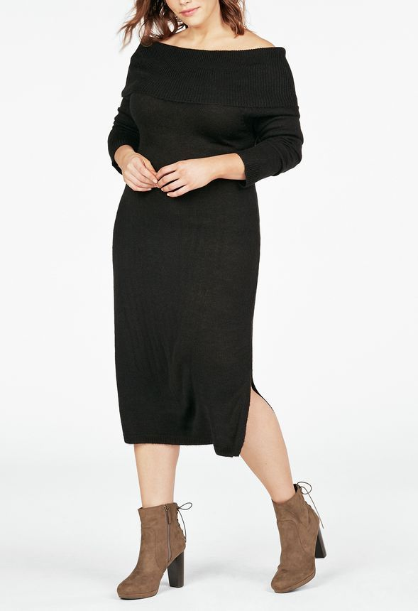 This is the coziest dress you'll ever own, while still being ultra chic and feminine! It features an off the shoulder design, long sleeves, and knee-length hem.  ...