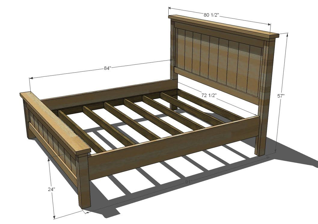 Ana white build a farmhouse bed calif king free and for King size bed frame and mattress