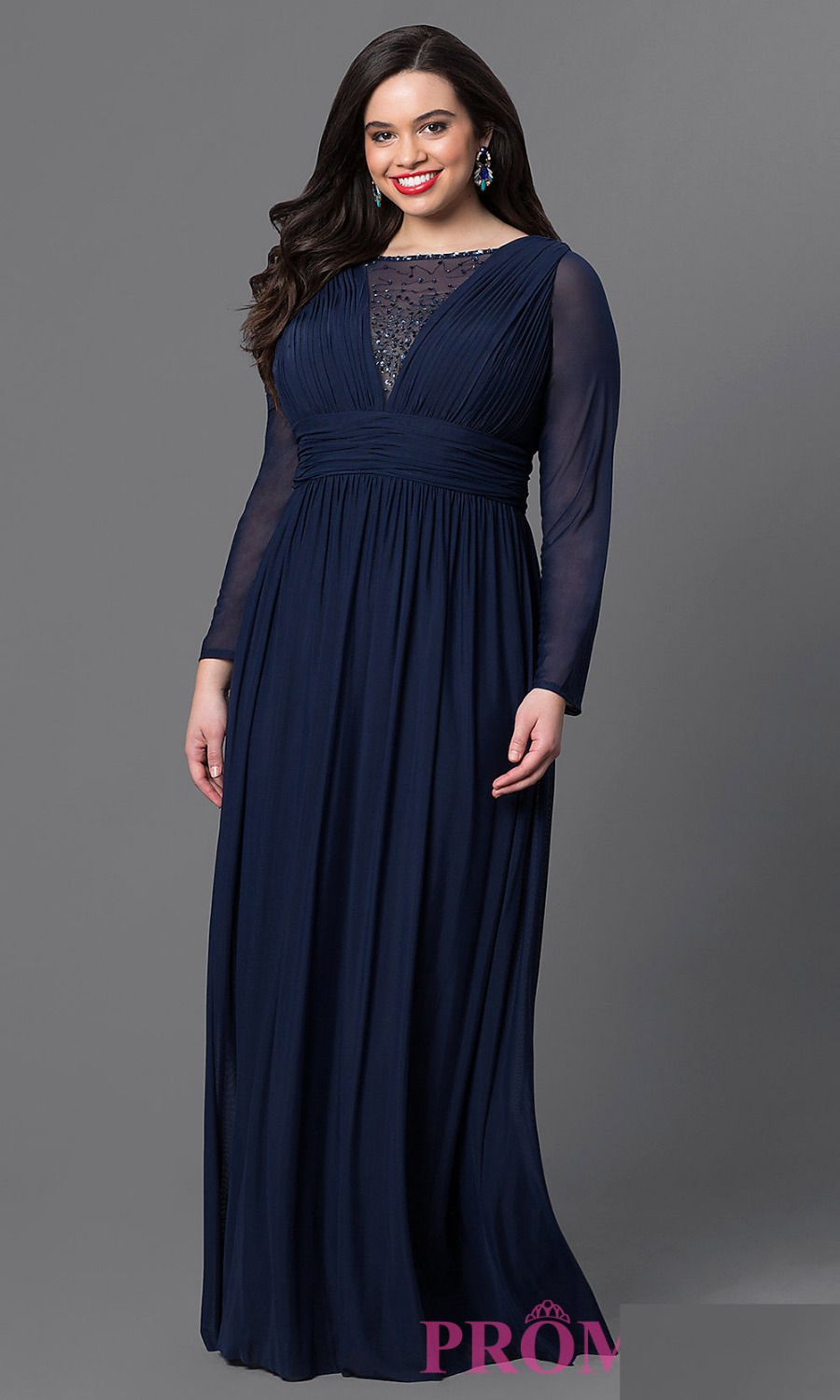 Find More Evening Dresses Information about Navy Blue Chiffon Plus ...