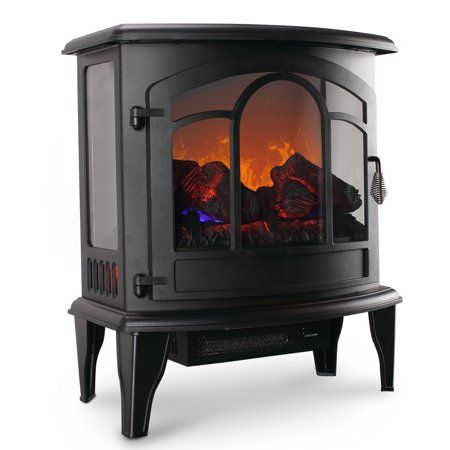 Della 20 Freestanding Electric Fireplace Heater Flame Display Log Wood Remote 1400w Walmart Com Portable Fireplace Electric Stove Heaters Stove Heater
