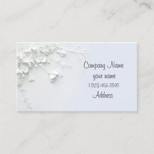 White 3d Simple Flower Designed Business Card Zazzle Com Simple Flower Design Business Card Design Elegant Business Cards