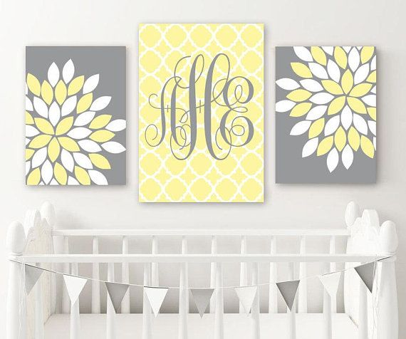 Yellow Gray Nursery Decor, Yellow Monogram Wall Art, Baby Girl ...