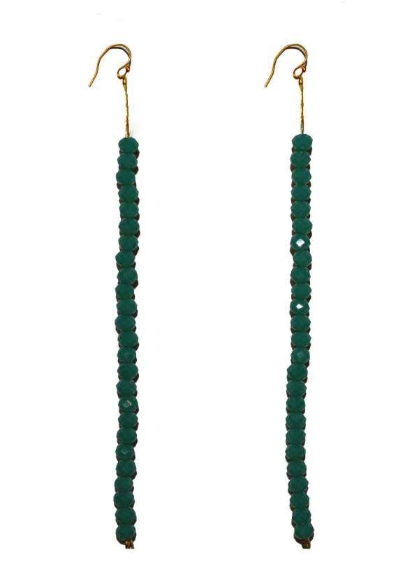 Oorbellen | hangend | kralen | goud | groen | jade | Pearls and Buttons