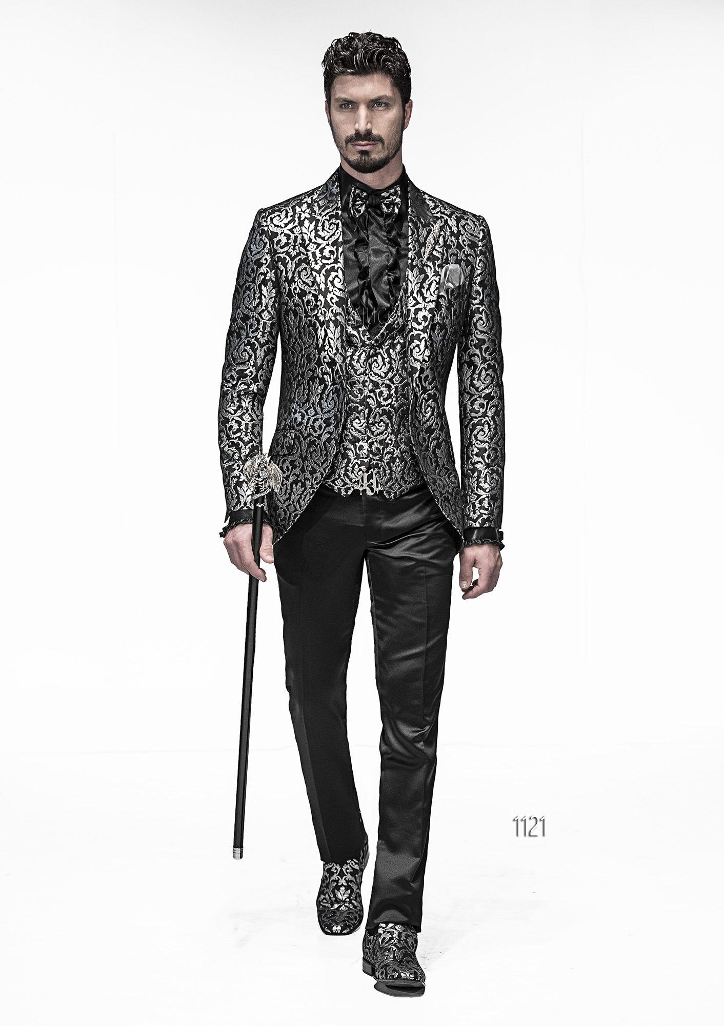 foto ufficiali 2626a 05849 Abito sposo con giacca damascata nero e argento | Stile nel ...
