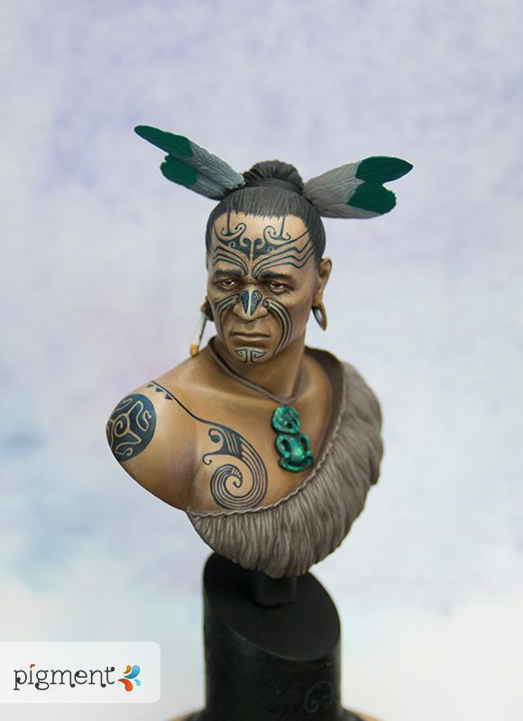 WIP Maori Warrior bust (SIZE: 100 ; SCALE: 1:9) Personal work (Posted on Author Lena Goldfinch SONGSTONE : a Maori-inspired Fantasy novel amzn.to/VjOsZJ)