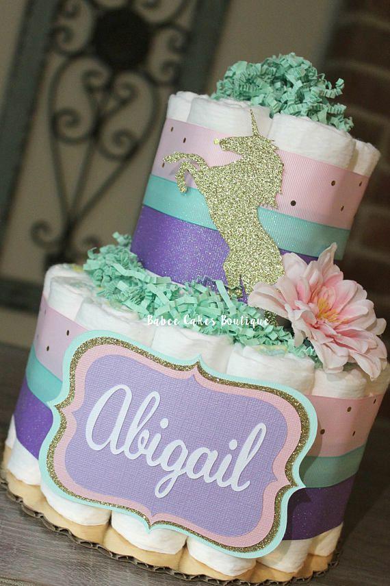 2 Tier Girls Pink Purple Mint Gold Unicorn Diaper Cake