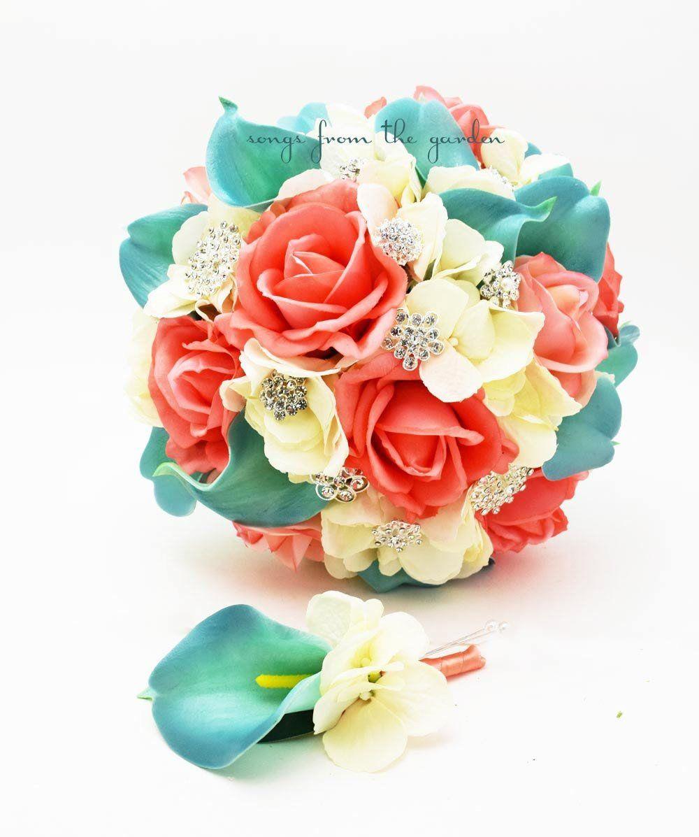 Coral Ivory Aqua Bridal Bouquet Rhinestone Brooches Wedding Bouquet ...
