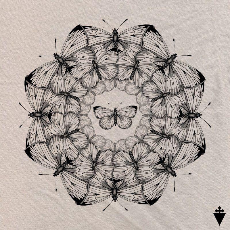 cool tattoo mandala butterflies design