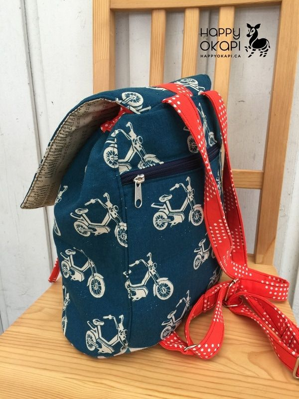 Swoon Sewing Patterns Lucy Backpack in Echino Motorbikes | Happy ...