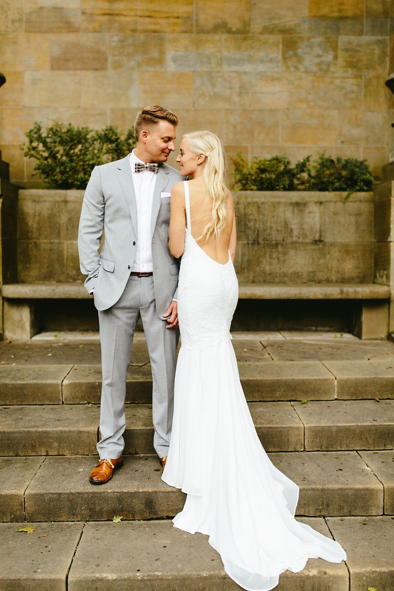 Low Backed Wedding Dress Backless Grey Grooms Suit Gatsby Insired