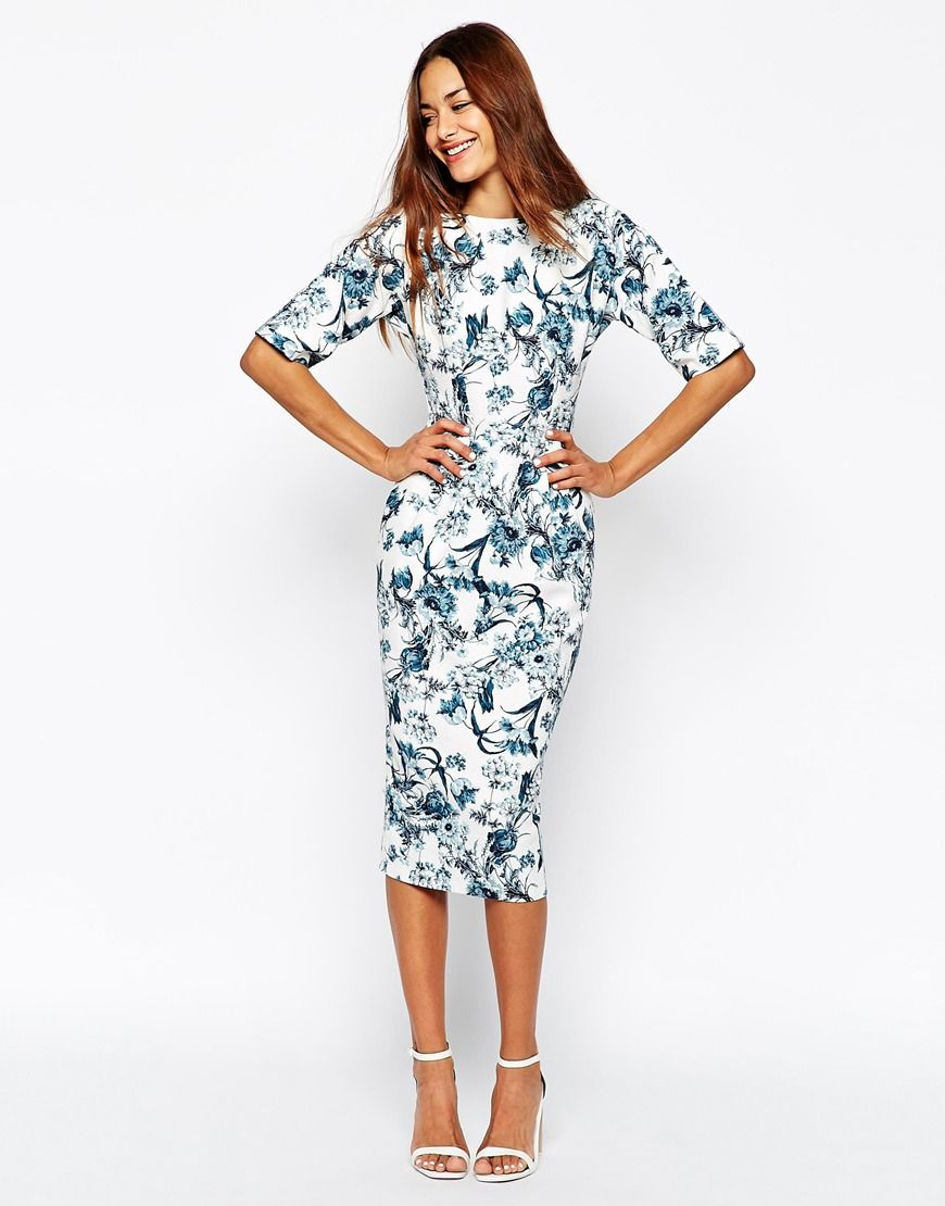a6f3ebd4b843c Image 4 of ASOS PETITE Wiggle Dress in Texture with Blue Floral Print