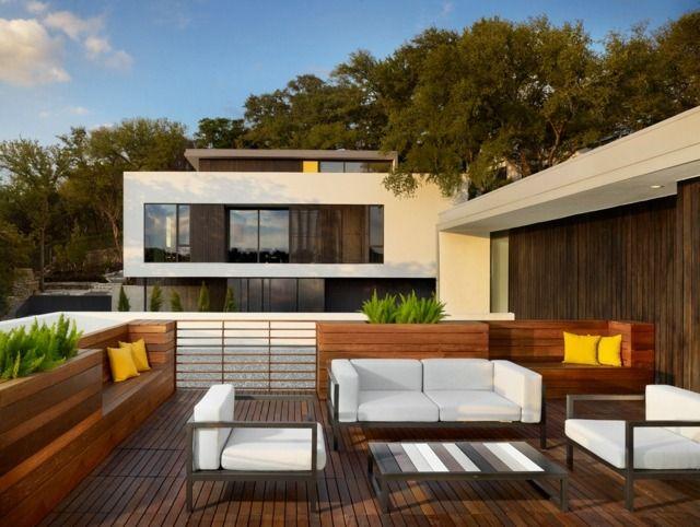 Terrasse Gestalten Holz Boden Belag Pflanzkübel
