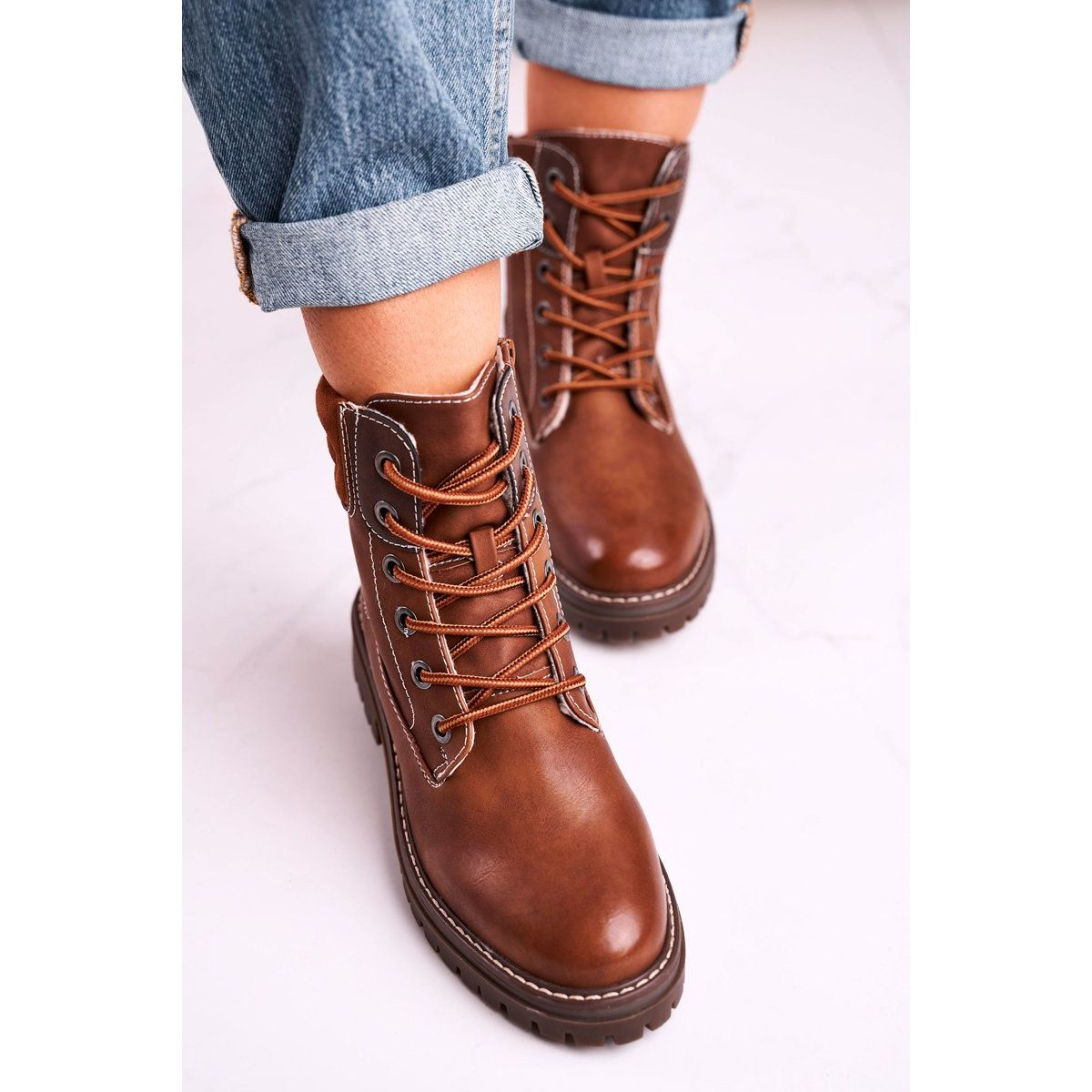 Damskie Ocieplane Workery Trapery Brazowe Timber Light Boots Combat Boots Hiking Boots