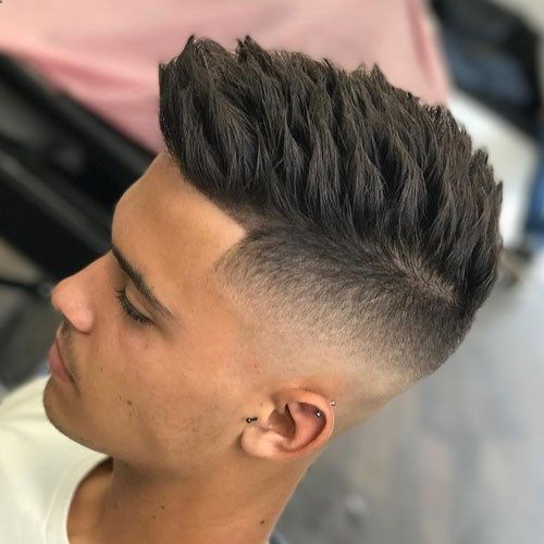 High Skin Temple Fade With Textured Spiky Hair Cool Short Hairstyles Hair Styles Boy Hairstyles