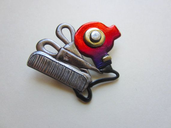 Hairdresser Hair Dryer Scissors and Comb Pin Brooch by Pinderella