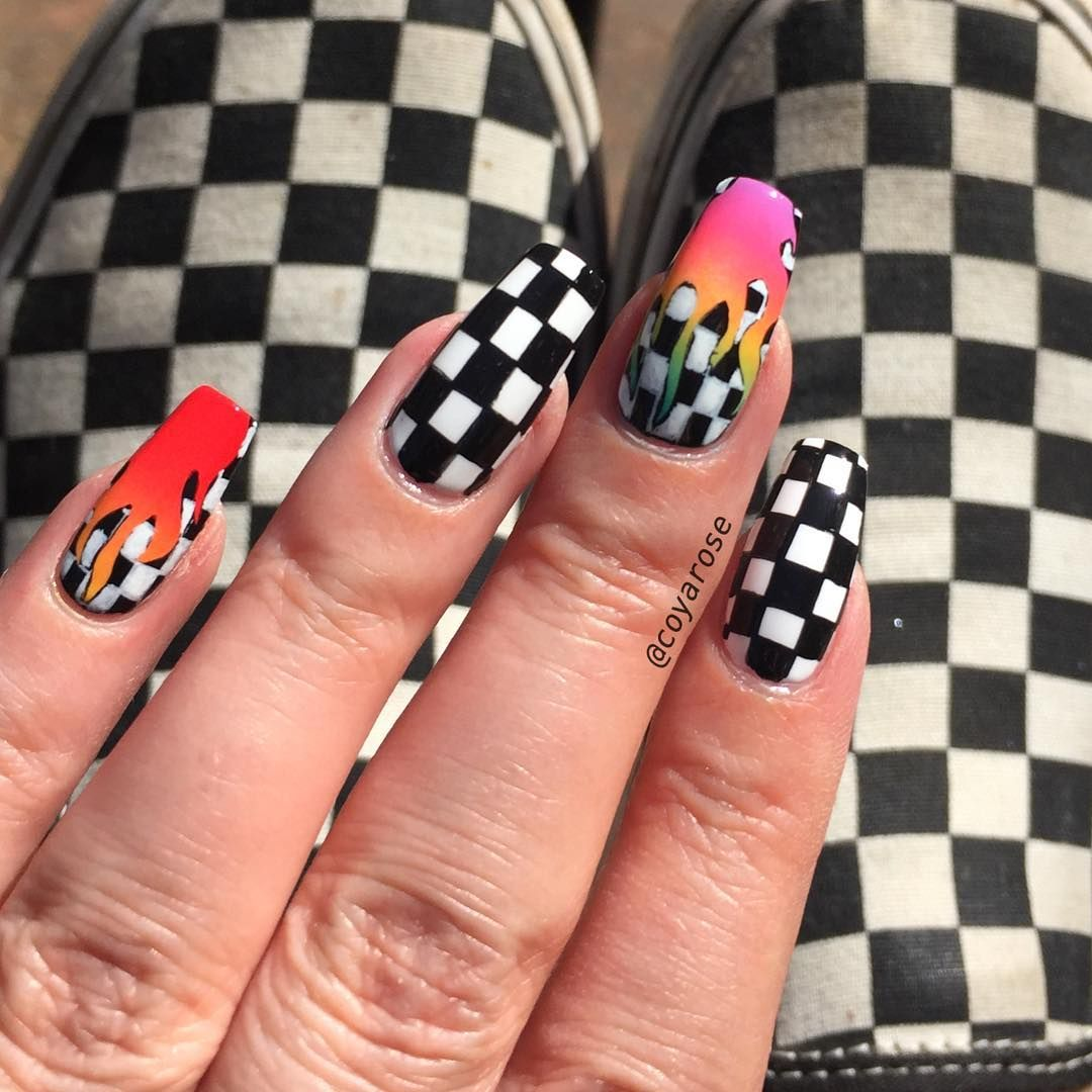 Checker Checkered Checkerboard Rainbow Flame Tana Mongeau Nails Nail Art Checkered Nails Fire Nails Cute Acrylic Nails