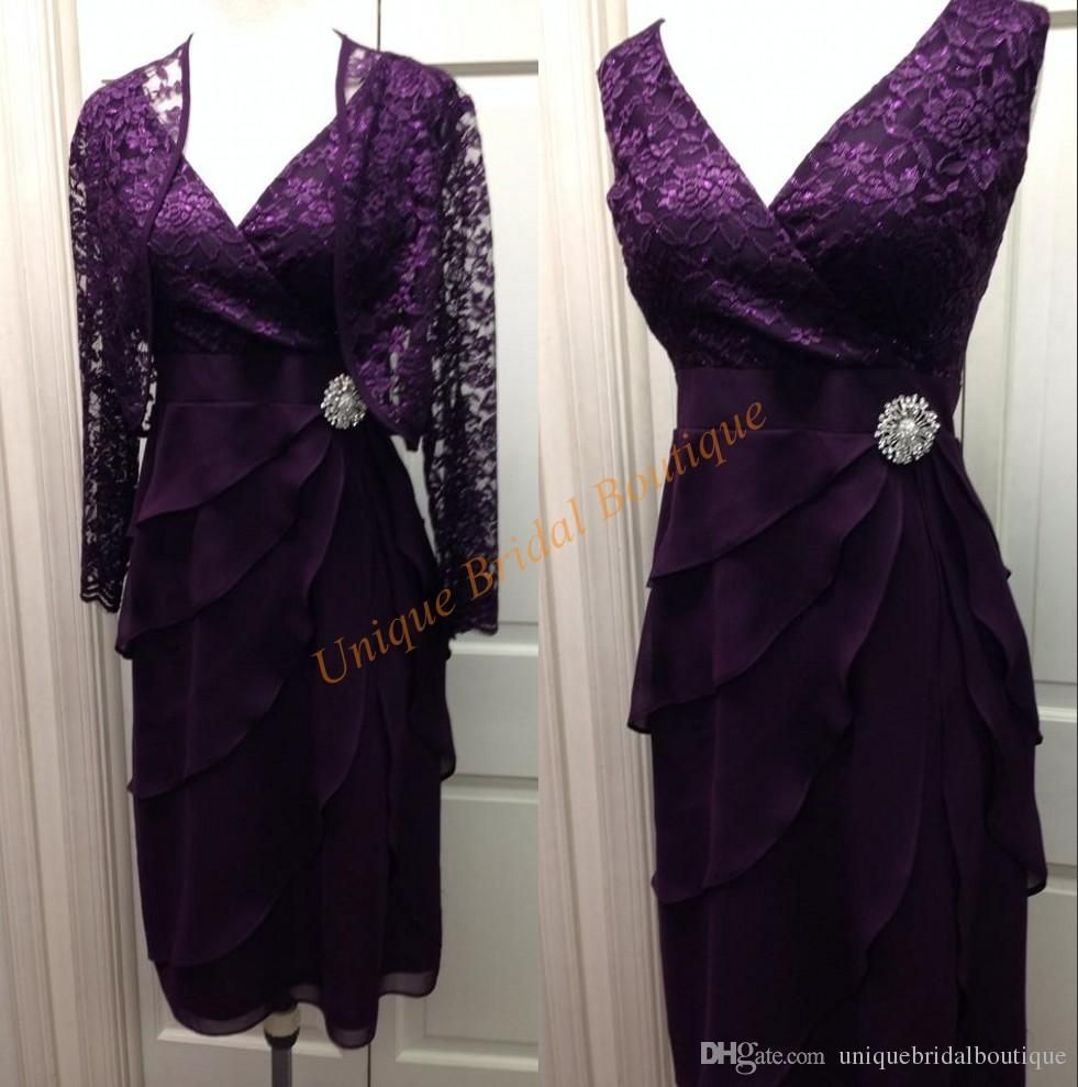 2016 mother 39 s formal wear dresses with lace jacket and for Purple dresses for weddings knee length