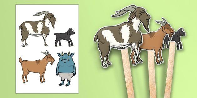 The Three Billy Goats Gruff Stick Puppets - Three Billy ...