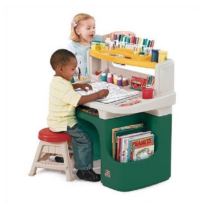 Art Desk Drawing Easels Kids Painting Board Coloring Books Cubby ...