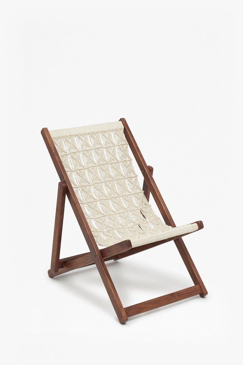 Acacia Macrame Deck Chair Wood Folding Chair Deck