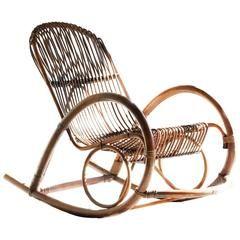 Mid-Century Modern Rattan Rocking Chair by Franco Albini