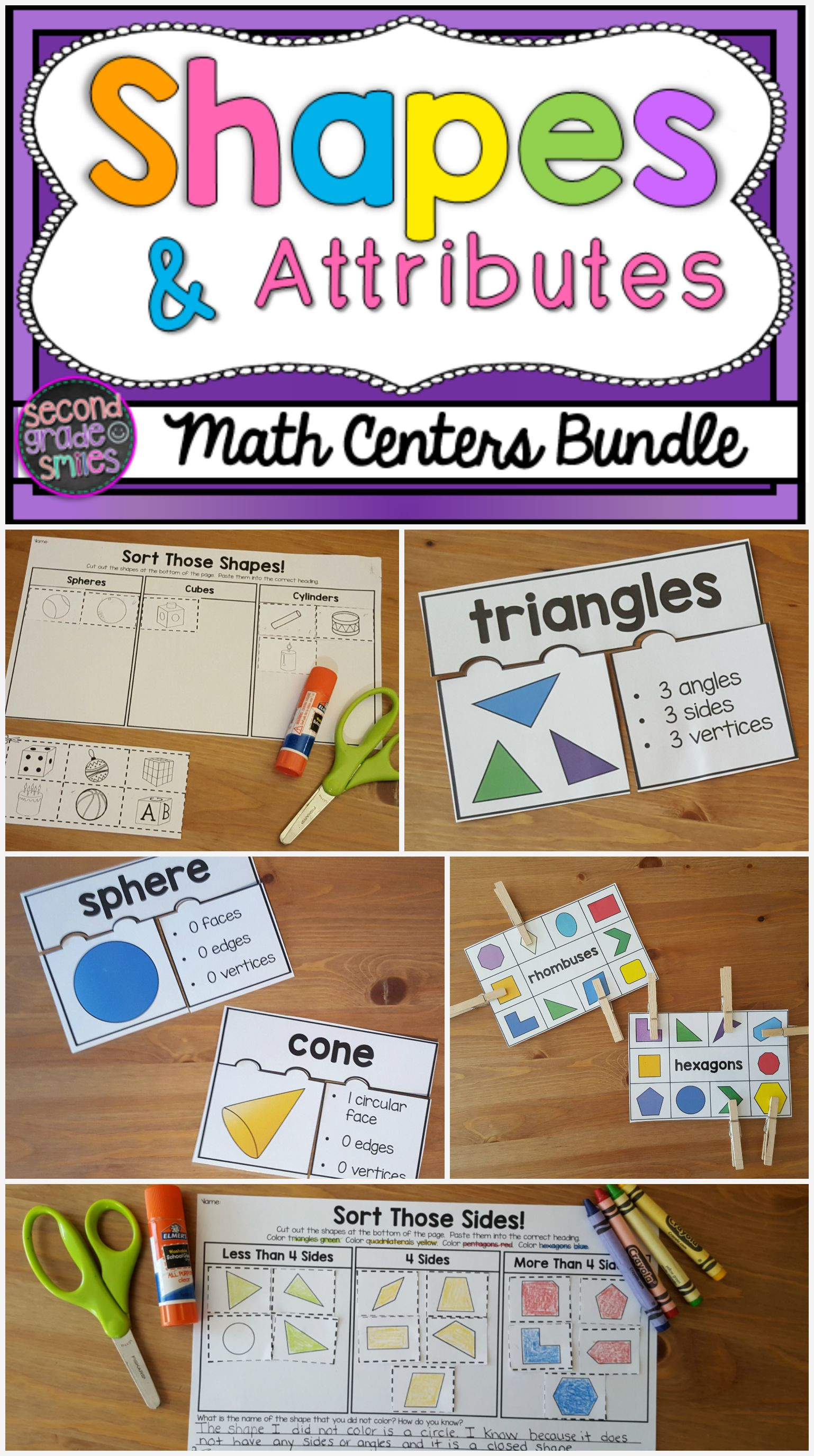 My students had so much fun with these shapes and attributes activities for  2D and 3D shapes! Includes puzzles, clip it cards, shape building task  cards, ...
