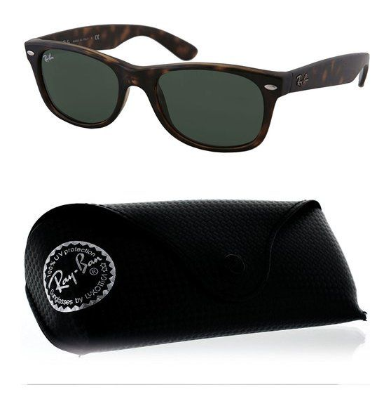 2fd1b1623e $120 - Ray-Ban RB2132 New Wayfarer Unisex Non-Polarized Sunglasses Tortoise  Frame Solid Black Lens #rayban