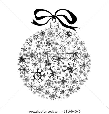 Christmas Balls Clipart Black And White.Isolated Black Christmas Ball Silhouette On White Background