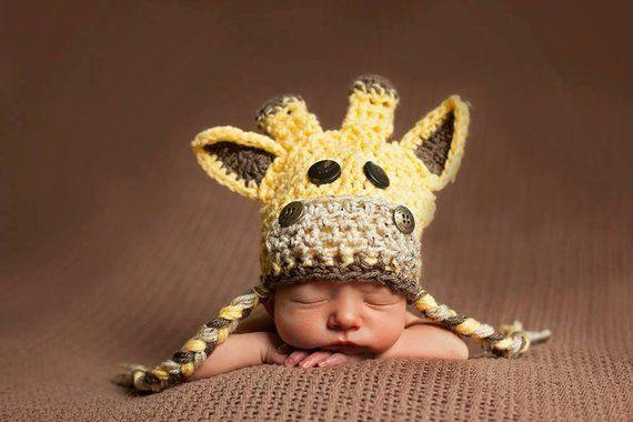 Giraffe Hat Baby Crochet Giraffe Hat Newborn Giraffe Hat Etsy Giraffe Hat Toddler Hats Girl Newborn Props