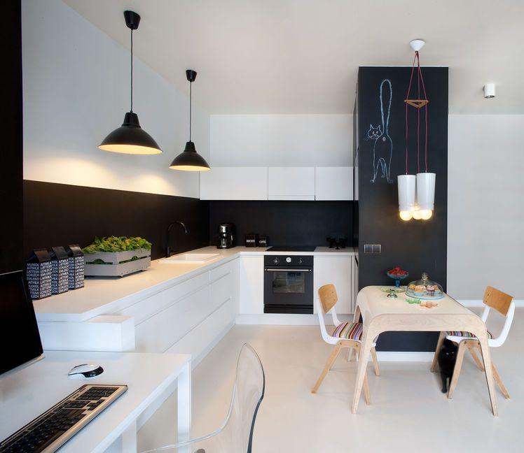 Inspiracje Bialo Czarne Kuchnie Naszych Architektow Kitchen Dining Room Kitchen Room Design