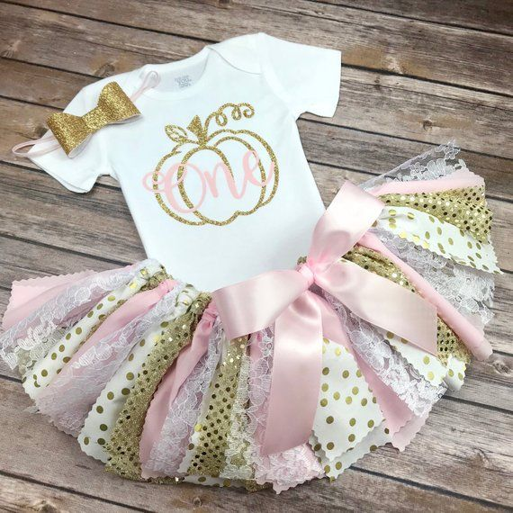 Pink and Gold Glitter Pumpkin Patch Birthday Outfit w/ Onesie / Shirt, Fabric Tutu, & Bow Headband, Fall Birthday Girl, Light Pink and Gold #pumpkinpatchoutfitwomen