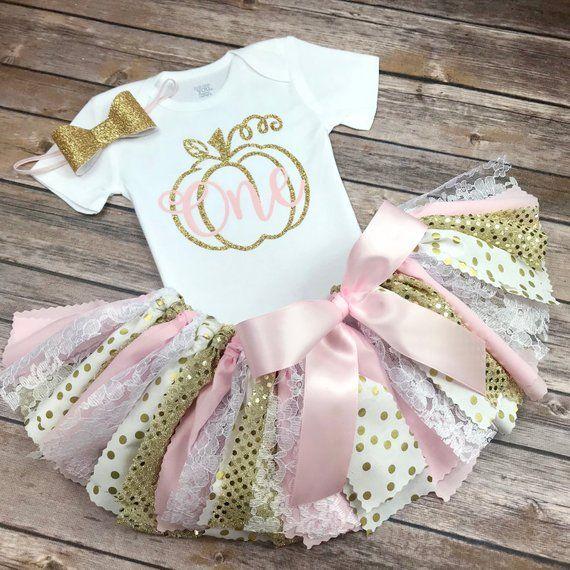 Pink and Gold Glitter Pumpkin Patch Birthday Outfit w/ Onesie / Shirt, Fabric Tutu, & Bow Headband, Fall Birthday Girl, Light Pink and Gold #pumpkinpatchoutfitwomen