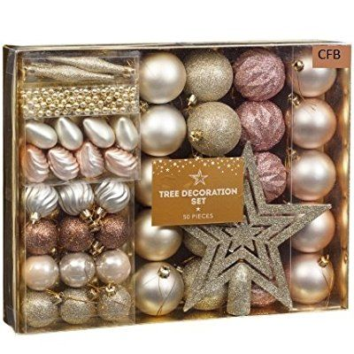 Rose Gold Brand New Christmas Tree Decoration Set 50pc Rose Gold