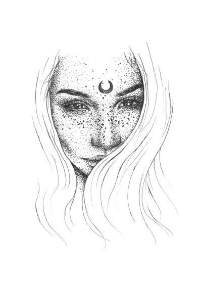 Moon Tumblr Girl Drawing Grunge Boho Sketch Visual