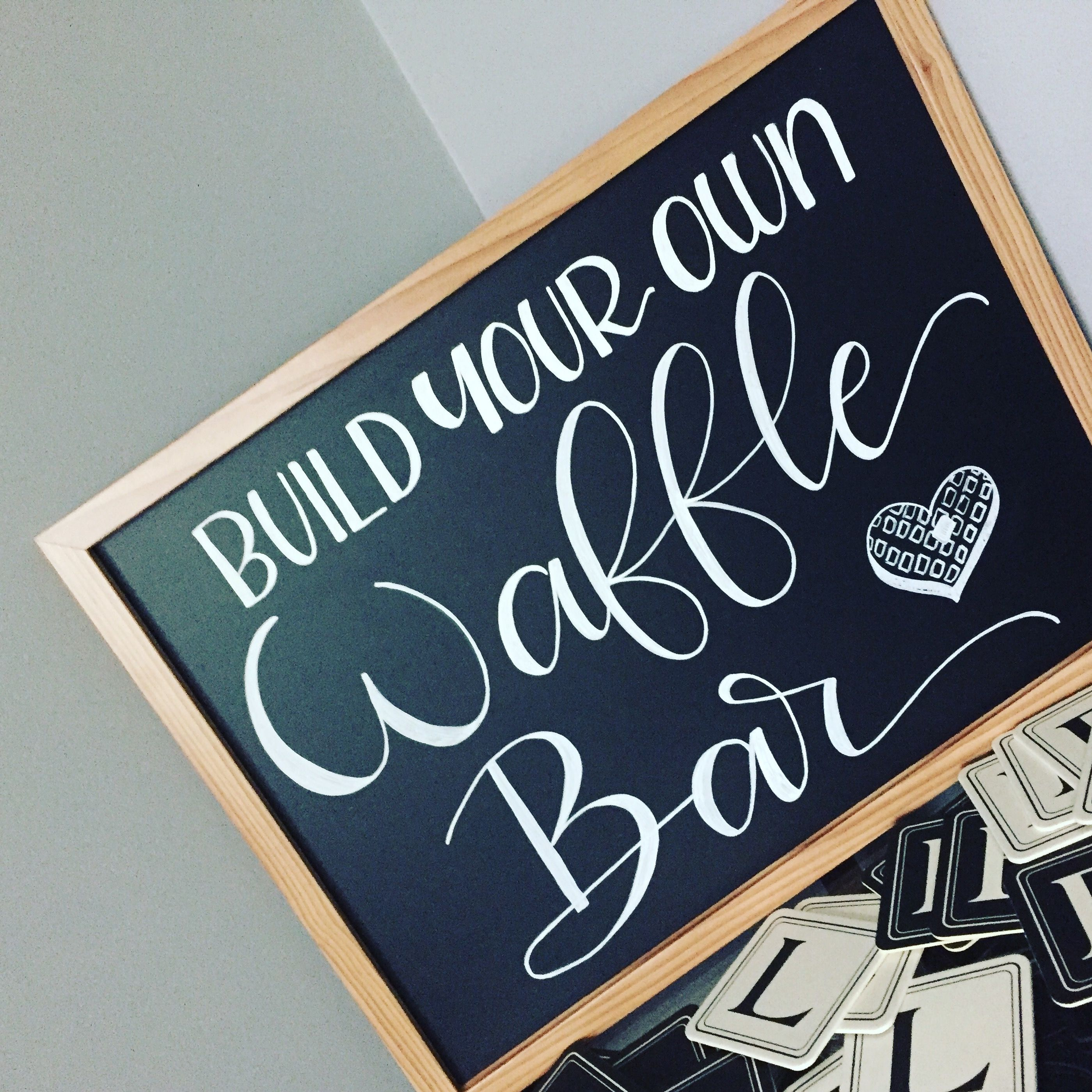 Custom waffle bar sign for a baby shower. Chalkboard sign in white ...